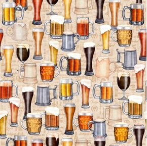 On Tap Beers Mugs and Glasses Frothy Brew Ale Cream Cotton Fabric