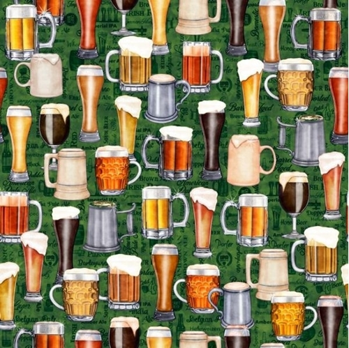 On Tap Beers Mugs and Glasses Frothy Brew Forest Green Cotton Fabric