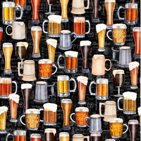 On Tap Beers Mugs and Glasses Frothy Brew Ale Black Cotton Fabric