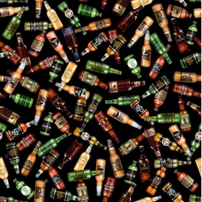 On Tap Beer Bottles Amber Ale Wheat Beer Porter Black Cotton Fabric