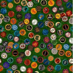 On Tap Beer Bottle Caps Irish Stout Ale Craft Beer Green Cotton Fabric