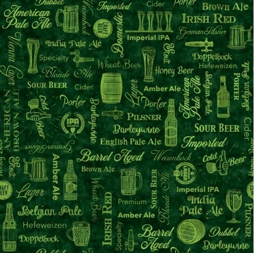 On Tap Beer Text Pale Ale Porter Craft Beer Words Green Cotton Fabric