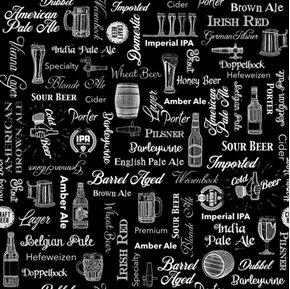 On Tap Beer Text Pale Ale Porter Craft Beer Words Black Cotton Fabric