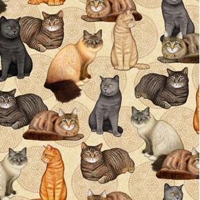 Felicity Cat and Medallion Cats Kittens Feline Cream Cotton Fabric