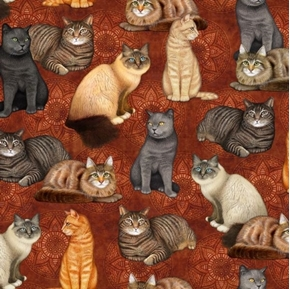 Felicity Cat and Medallion Cats Kittens Feline Rust Cotton Fabric
