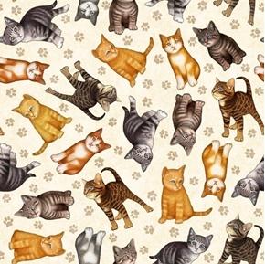 Felicity Kitten Toss Paw Prints Tabby Cat Feline Cream Cotton Fabric