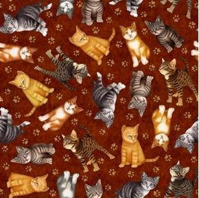 Felicity Kitten Toss Paw Prints Tabby Cat Feline Rust Cotton Fabric
