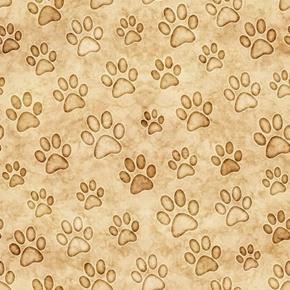 Felicity Paws Cat Paw Print Pawprints Cream Cotton Fabric