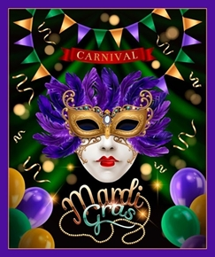 Mardi Gras Festive Holiday New Orleans Carnival Cotton Fabric Panel