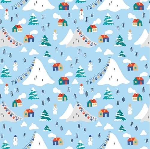 Wintertime Joy Mountains Ski Resort Downhill Skiing Blue Cotton Fabric
