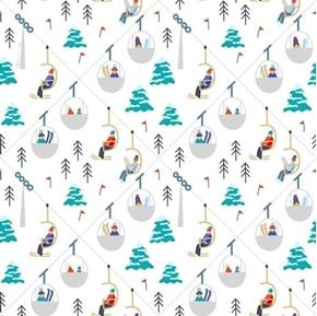 Wintertime Joy Ski Lift Snow Skiing Ski Resort White Cotton Fabric
