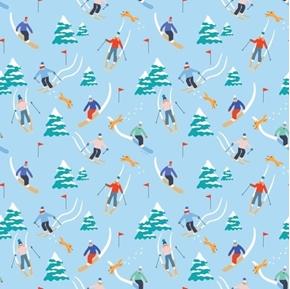 Wintertime Joy Downhill Skiing Ski Racing Light Blue Cotton Fabric