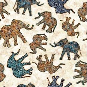 Savannah Elephant Toss Batik Elephants Ecru Cotton Fabric