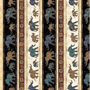 Savannah Elephant Stripe Batik Elephants Striped Cotton Fabric
