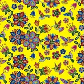 Tucson Southwest Aztec Beaded Flowers and Birds Yellow Cotton Fabric