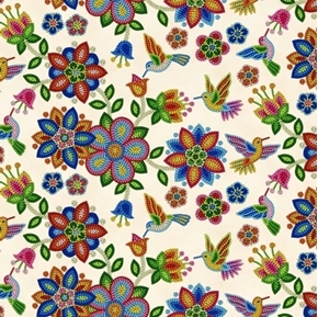 Tucson Southwest Aztec Beaded Flowers and Birds Cream Cotton Fabric