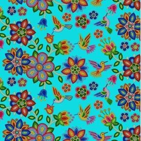 Tucson Southwest Aztec Beaded Flowers and Birds Turquoise Cotton Fabric