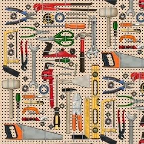 Man Cave Carpenter Tools Stored on a Pegboard Hammer Saw Cotton Fabric