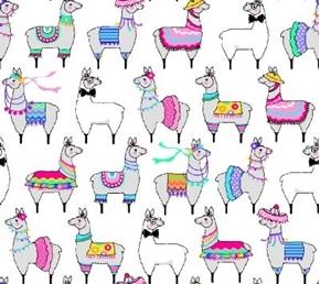 Llamas Colorful Mexican Decorated Llama White Cotton Fabric