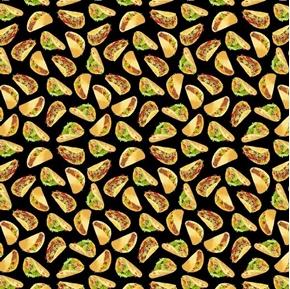 Small World Mini Tacos Digitally Printed Mexican Taco Cotton Fabric