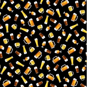 Grab Me A Beer Mugs and Glasses Beer Brew Black Cotton Fabric