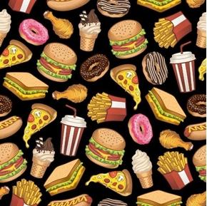 Happy Foods Burgers Shakes Fries Pizza Ice Cream Donut Cotton Fabric