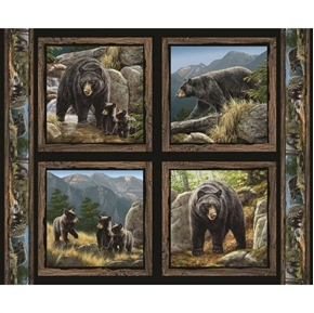 Wild Wings Cool Waters Bear Wild Bears Cotton Fabric Pillow Panel Set