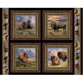 Wild Wings Bison Range Buffalo Cotton Fabric Pillow Panel Set