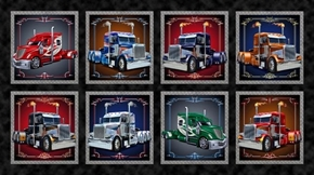 Keep on Truckin' Cotton Semi Truck Picture Patches 24x44 Fabric Panel
