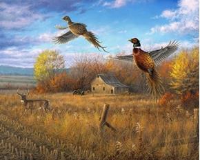 Farmland and Sanctuary Pheasants Fall Farm Digital Cotton Fabric Panel