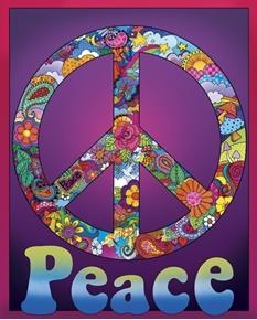 Peace Sign Flowers Mushrooms Dove Hippie Digital Cotton Fabric Panel