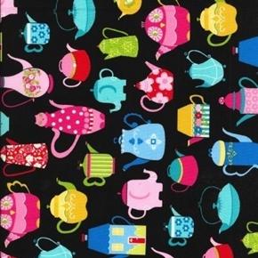 Teapot Collection Colorful Animal Flower Teapots Black Cotton Fabric
