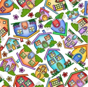 Home House Toss Whimsical Tossed Decorative Houses White Cotton Fabric