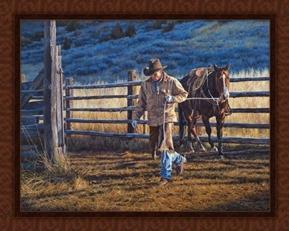 Daybreak Cowboy Horse Farm Chores David Graham Cotton Fabric Panel