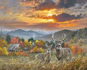 November Light Deer Buck Fall Farm Sunset Digital Cotton Fabric Panel