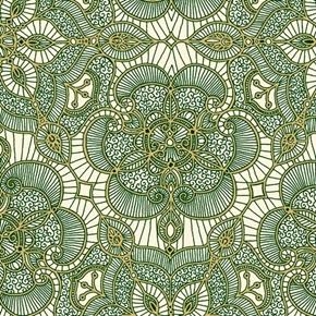 Luminous Holiday Lace Medallion Metallic Green On Cream Cotton Fabric
