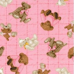 Teddy Bear Toss Stuffed Bear Nursery Pink Cotton Fabric