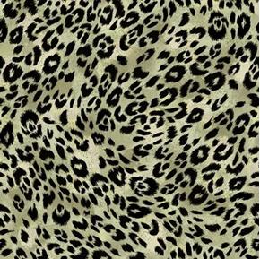 Isabella Animal Skin Leopard or Cheetah Fur Olive Green Cotton Fabric