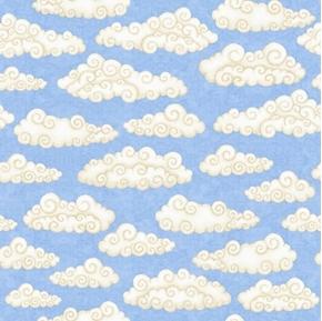 Lullaby Clouds Childrens Nursery Décor Sky Cloud Blue Cotton Fabric