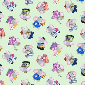 Elephant Friends Tossed Elephants Childs Play Jade Green Cotton Fabric