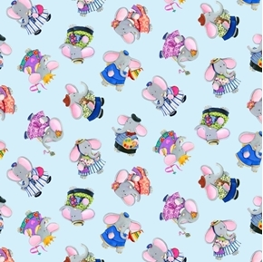 Elephant Friends Tossed Elephants Childs Play Blue Cotton Fabric