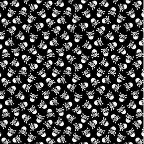 Small World Mini Skulls and Bones Black Halloween Cotton Fabric