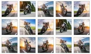 Dream Ride Motorcycle Biker Blocks White 24x44 Cotton Fabric Panel