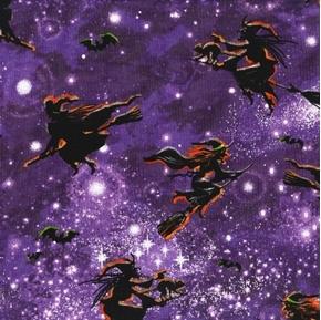 Fall Holidays Witch Flight Purple Starry Sky Halloween Cotton Fabric
