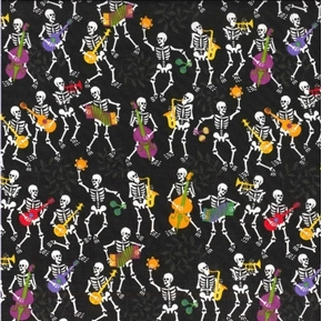Fall Holidays Musical Skeletons Skeleton Band Halloween Cotton Fabric