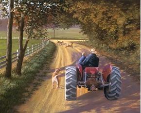 Memory Lane Farm Tractor with Grandpa Digital Cotton Fabric Panel