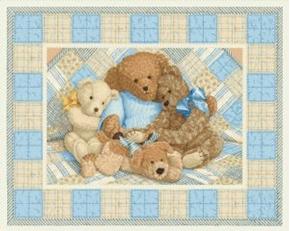 Teddy Bear Bears on Blue Plaid Nursery Large Cotton Fabric Panel