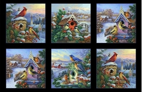 Winter Song Songbirds Birdhouses Holiday 24x44 Cotton Fabric Panel