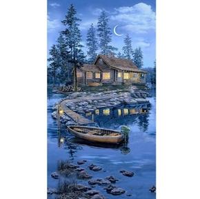 Lakeside Cabin Wilderness Retreat Vacation 24x44 Cotton Fabric Panel