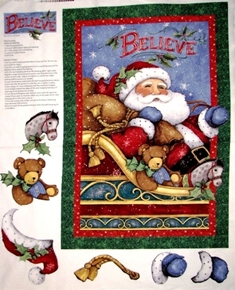 I Believe In Santa Christmas Holiday Susan Winget Fabric Craft Panel